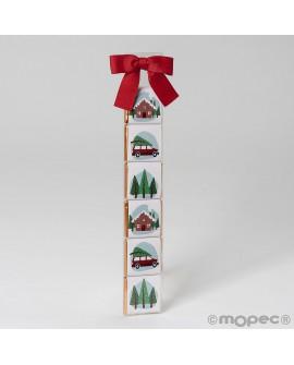 Estuche 6 napolitanas detalle Navidad con lazo rojo