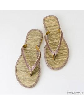 Chanclas de bambú y lamé