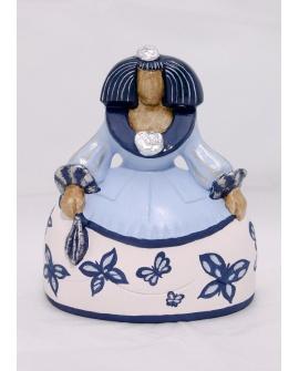 Menina azul con mariposas.