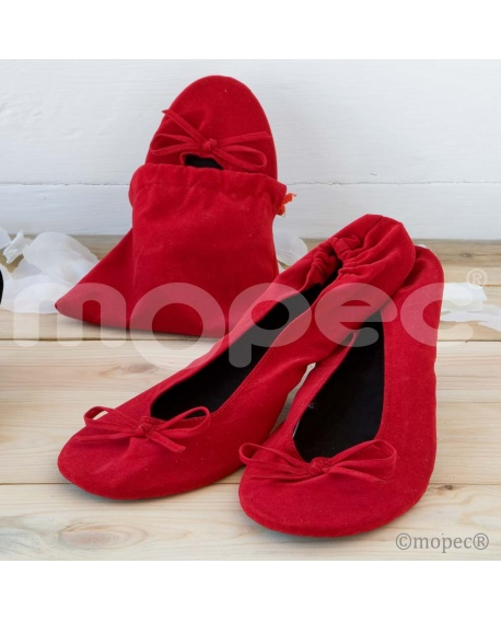Bailarinas enrollables terciopelo rojo