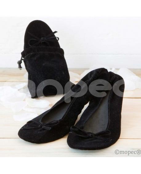 Bailarinas enrollables terciopelo negro