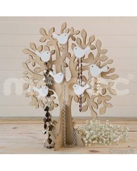 Árbol joyero de madera con pajaritos.