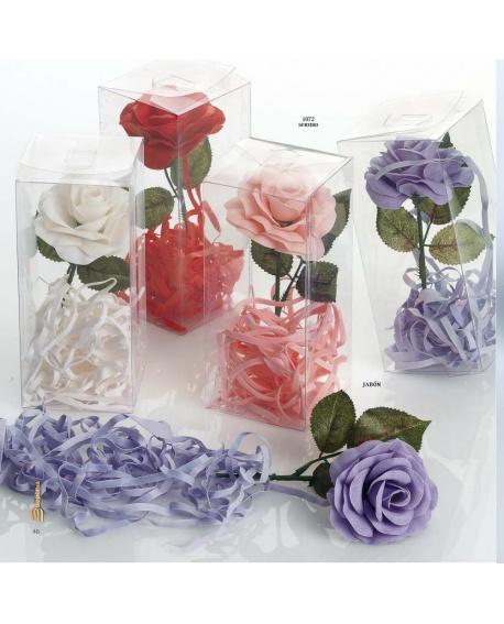 Flor de jabón con tiras.