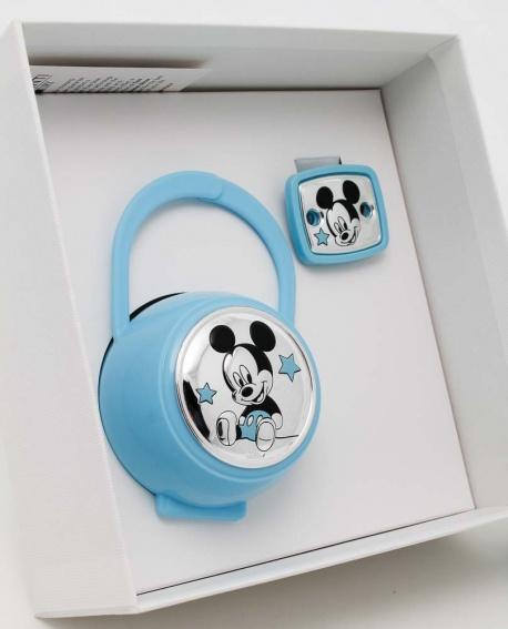 Jgo. de pinza y portachupetes carita Mickey