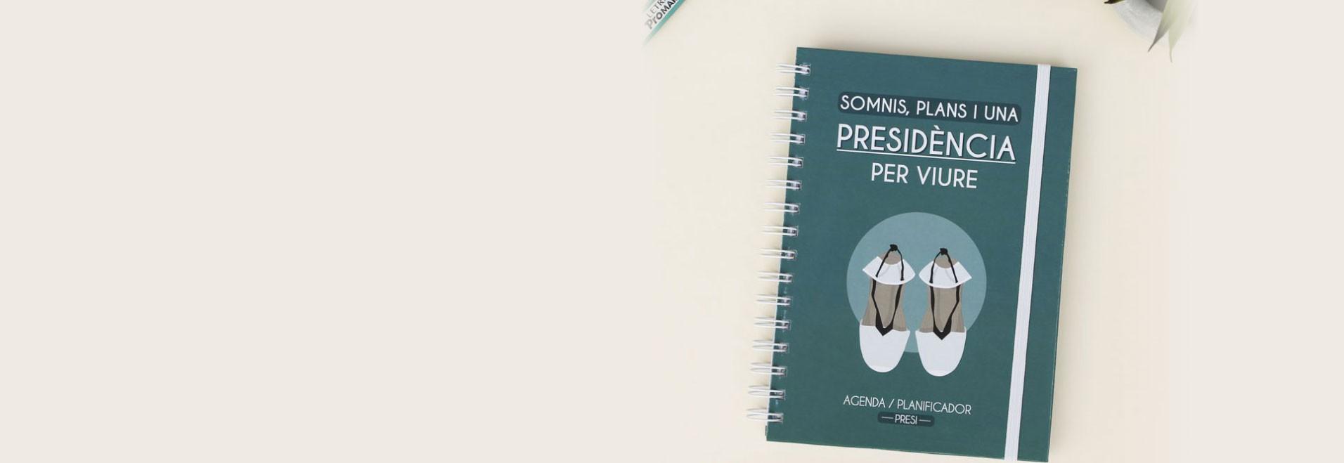 Agenda planificador para presidente fallero con pegatinas y bolígrafo de regalo