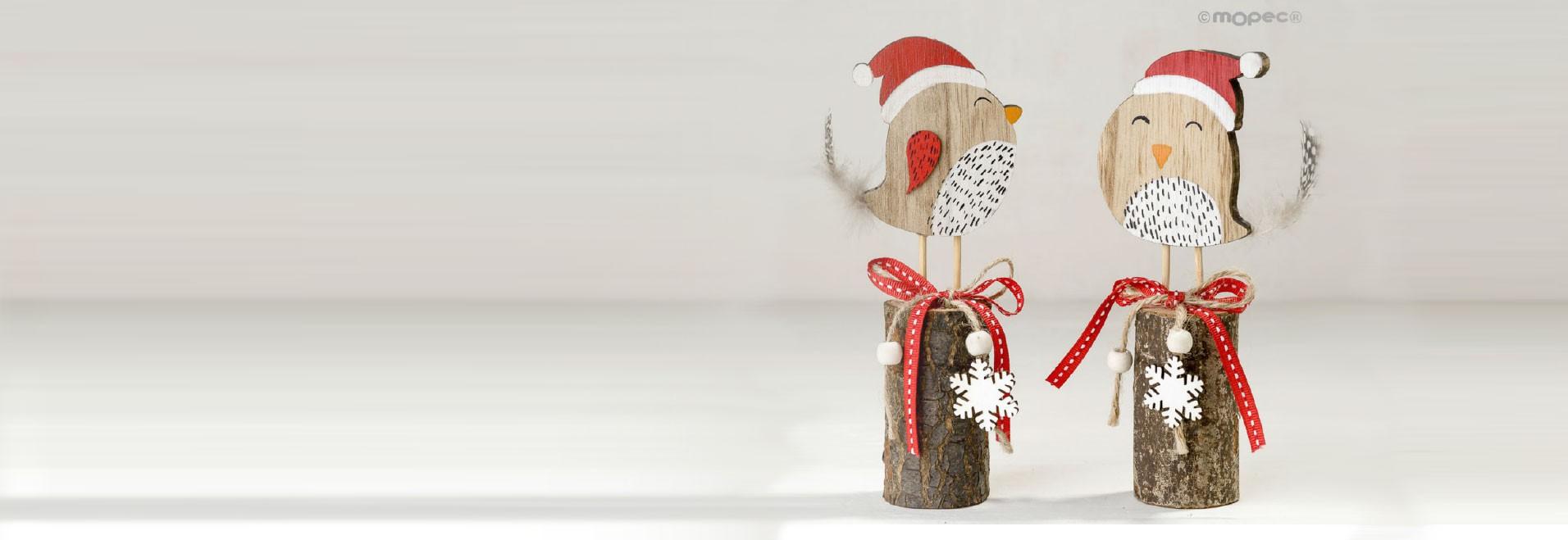 Decoración de madera figuritas con gorro de Papá Noel navideño