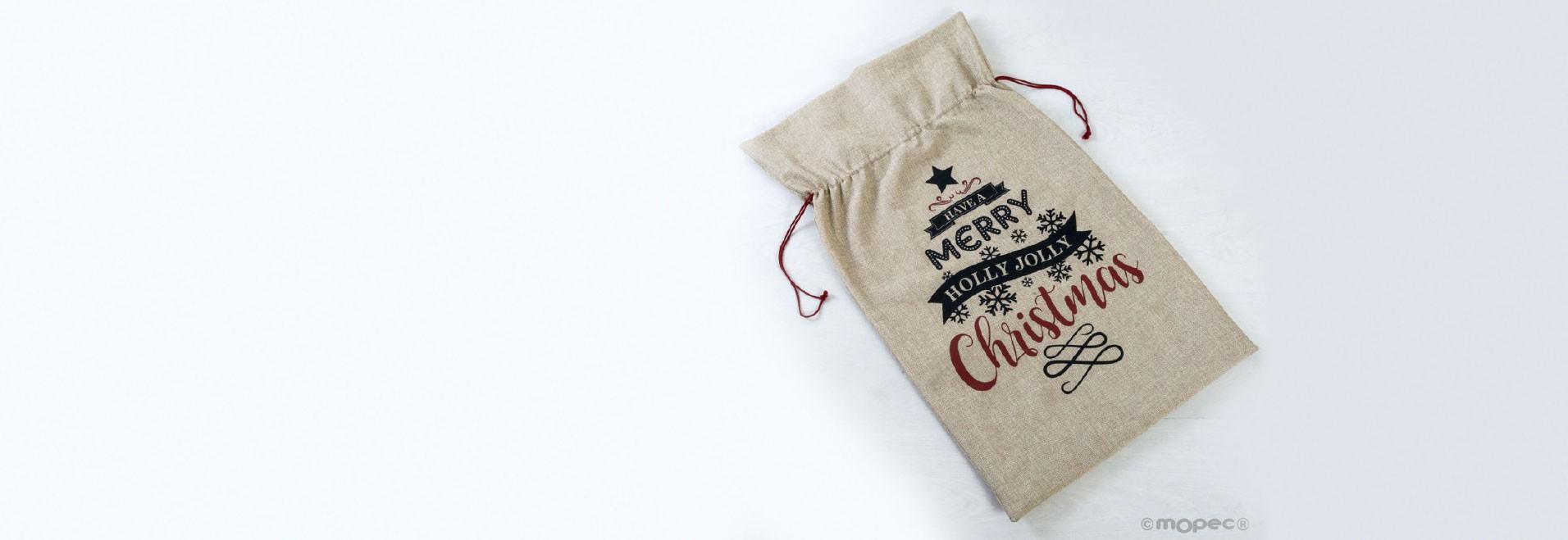 Bolsa para regalos de rafia con decoración navideño